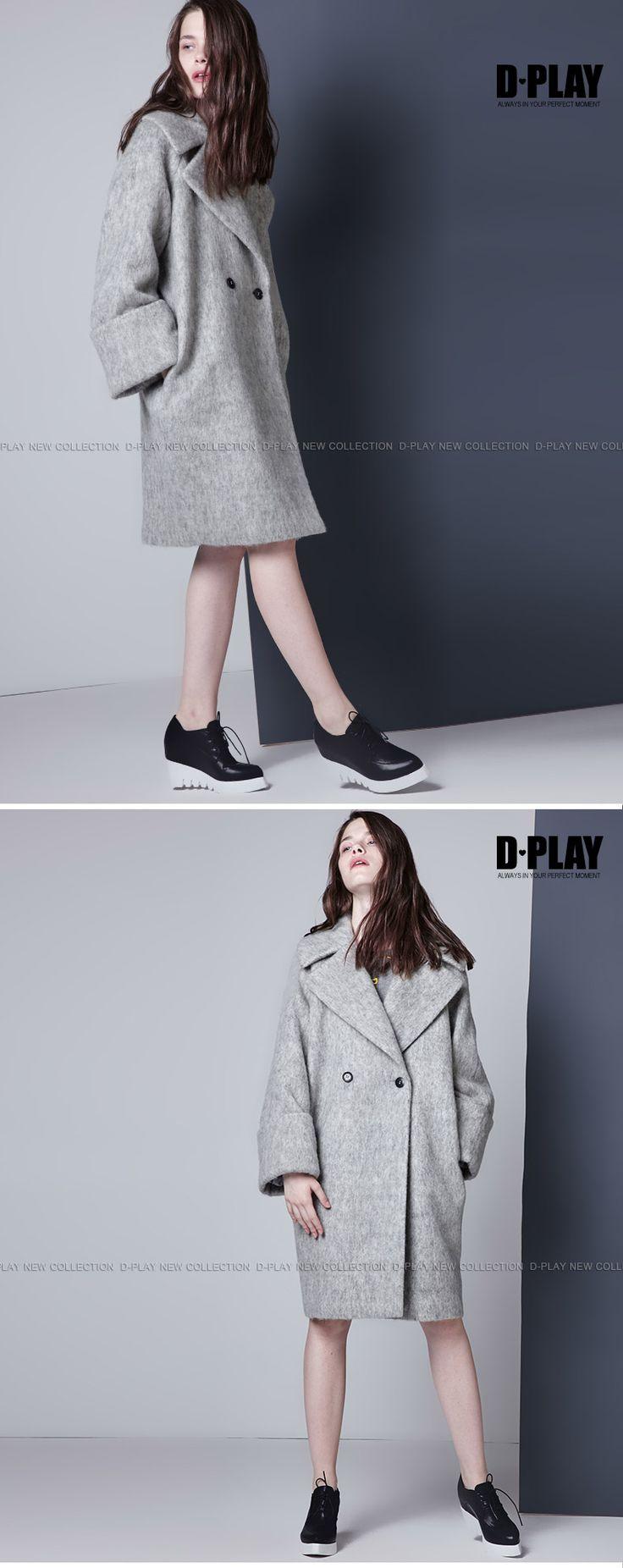 D-PLAY冬季欧美宽袖茧型大衣气质灰宽松大码羊毛呢大衣厚外套-tmall.com天猫