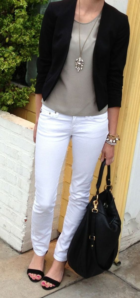C. Style: L.A. Trip by Outfits 2:  wear a grey tank or silk shell under a blazer for a high/low look.:
