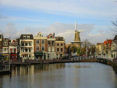 View of Molen de Valk (tower mill The Falcon) in the centre of Leiden.