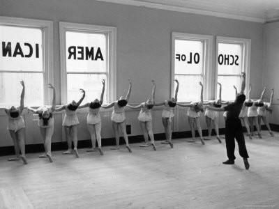 Dancers at George Balanchine's School of American Ballet Lined Up at Barre During Training Photographic Print by Alfred Eisenstaedt at Art.com
