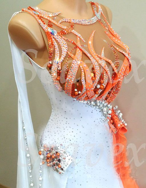 Woman Ballroom Standard Waltz Tango Dance Dress US 8 UK 10 Orange White