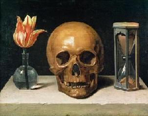 Kunst: 'Vanitas' door Philippe de Champaigne. Het Vanitas schilderij is een genre dat met name erg populair was in Nederland in de 17e eeuw. Het thema is bedoeld om de kijker er aan te herinneren dat het leven maar tijdig is en aan te sporen om zich te richten op het eeuwige leven.
