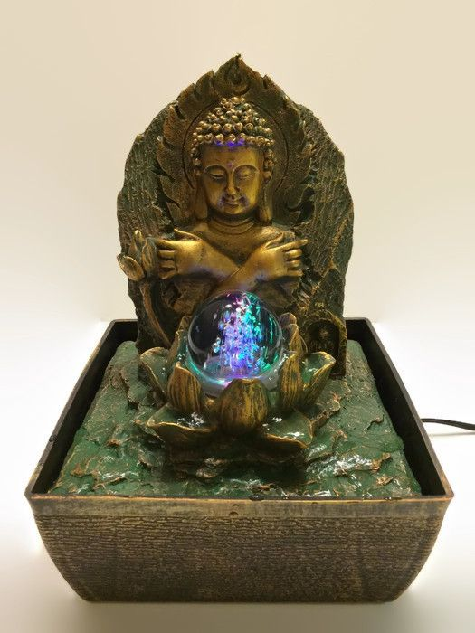 Buddha Indoor Water Fountain With Led Light With Rolling