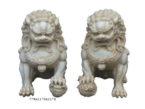 Pair-Chinese-Hand-Carving-White-Marble-FenShui-Foo-Dogs-WK1115