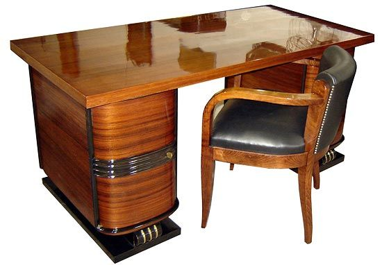 This French art deco desk and chair dates from the 1930's and is attributed to Decoration Interieure Moderne ~ Rene Joubert and Philippe Petit.