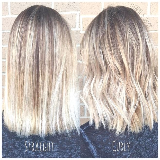 Bright Blonde Balayage Styled Straight And Curly Balayagehairblonde Short Hair Balayage Balayage Straight Hair Light Blonde Balayage