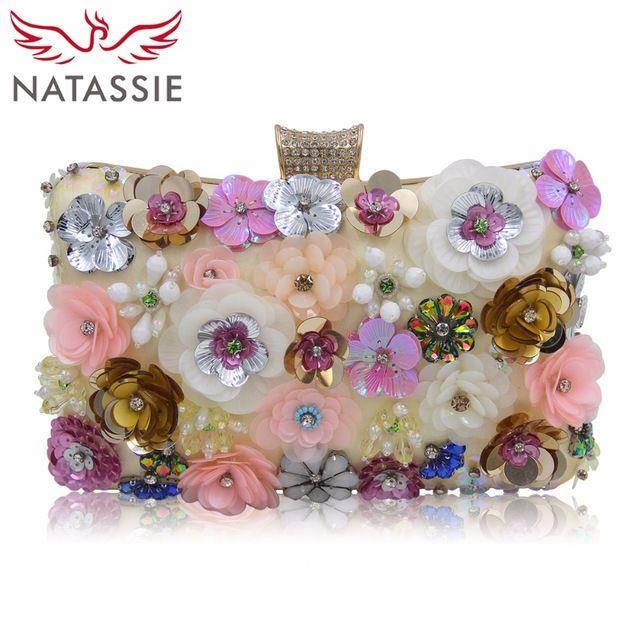Today Sale $24.99, Buy NATASSIE Women Flower Evening Clutch Bag Ladies Clutches Bags Female Floral Wedding Purses