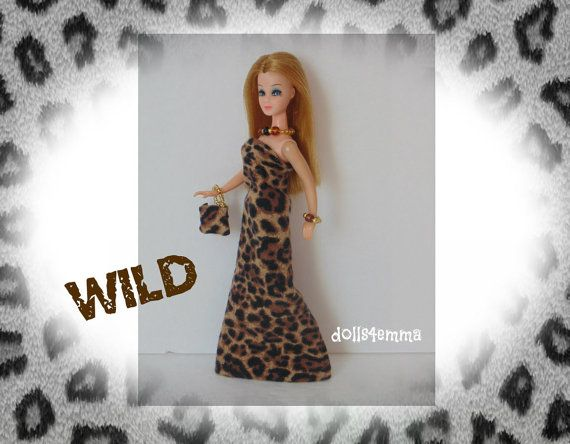 Topper DAWN Doll kleding - WILD Animal Print Gown portemonnee en sieraden - aangepaste Fashion door dolls4emma