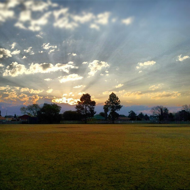 The sun setting on our baseball field :)