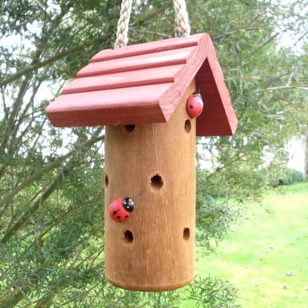 Hang dit huisje bij bloeiende struiken die vaak bladluizen aantrekken en weldra zullen lieveheersbeestjes en andere nuttige insecten er hun intrek in nemen.