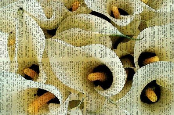 Цветы на книжных страницах / Декупаж / Картинки для декупажа