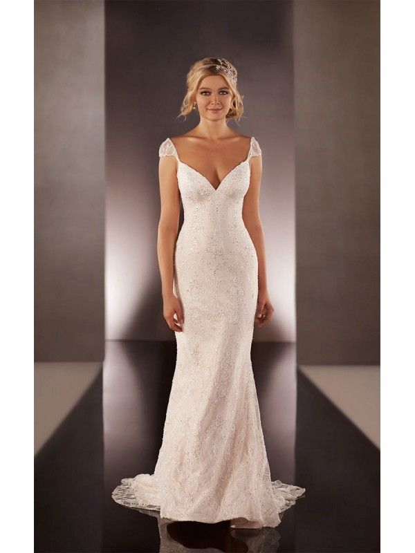 Beautiful Empire V Neck Cap Sleeve Sheath Column Sweep Brush Train Beaded Tulle Wedding Dresses Más