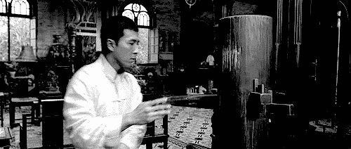 Donnie Yen as Ip Man working the Wooden Dummy