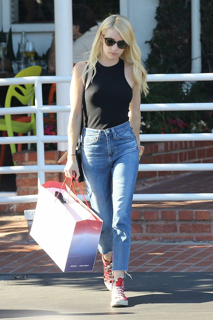 Emma Roberts - Style Out in Black Cropped Top in West