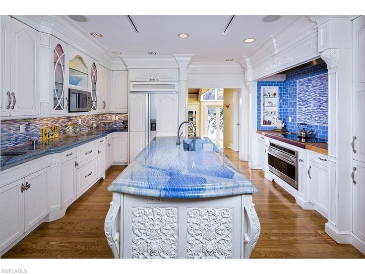 4255 Gordon Dr, Naples, FL 34102 | Blue Kitchen   Wow That Counter Top