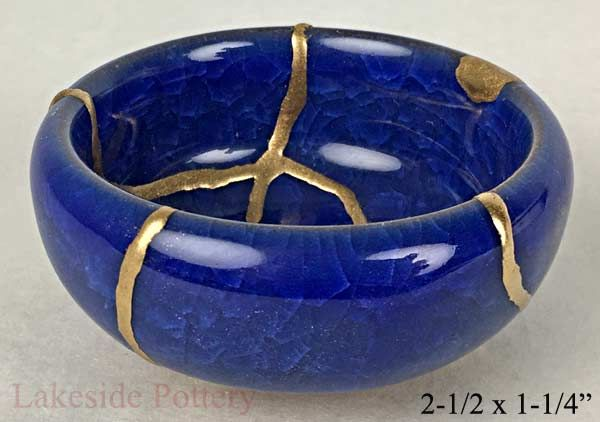 regalo de reparación kintsugi - azul hielo tazón de esmalte