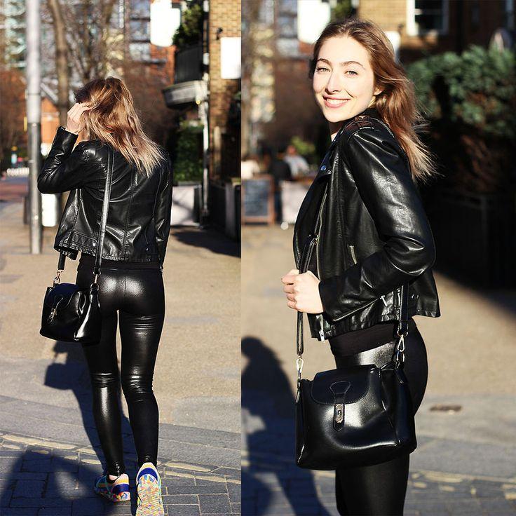 Donia Rose Black Fake Leather Jacket Black Fake Leather
