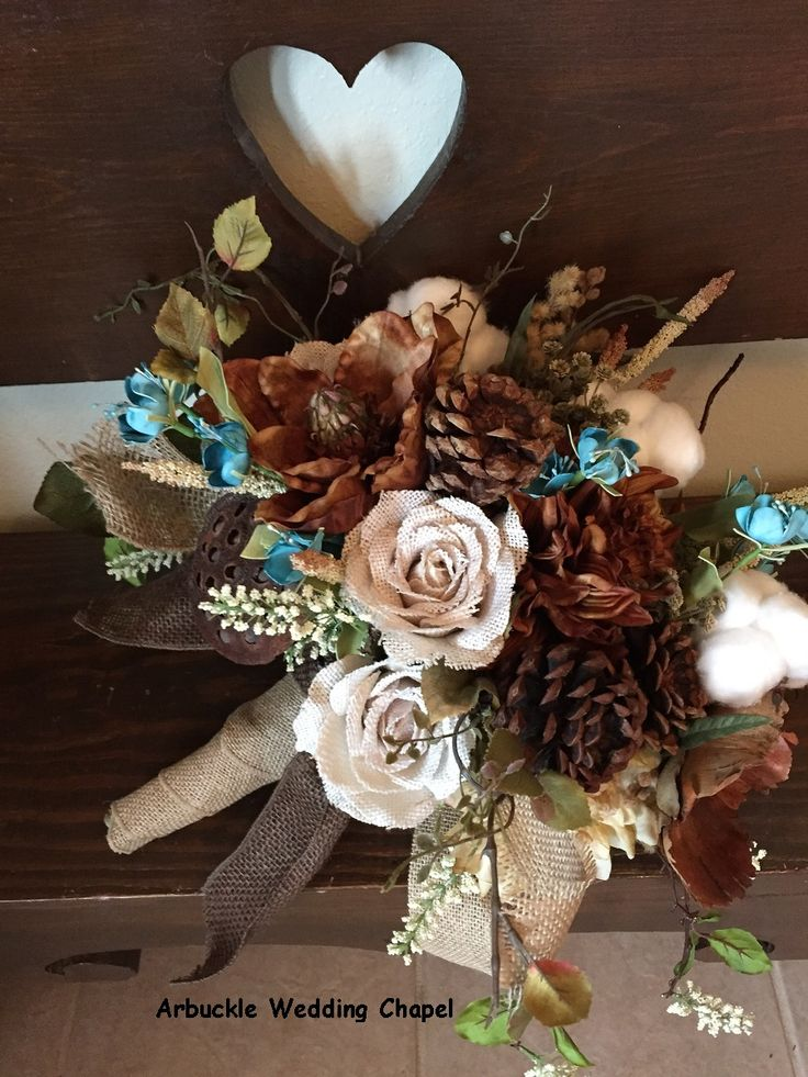 Perfect Bouquet For A Country Wedding Complete With Burlap Roses Seed Pods