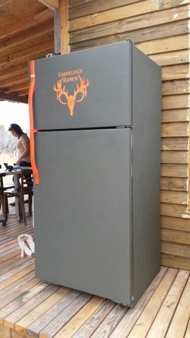 Hunting cabin fridge with custome paint job and logo army green spray paint hunting orange spray paint