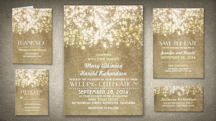 STRING LIGHTS GLITTER VINTAGE WEDDING INVITATION