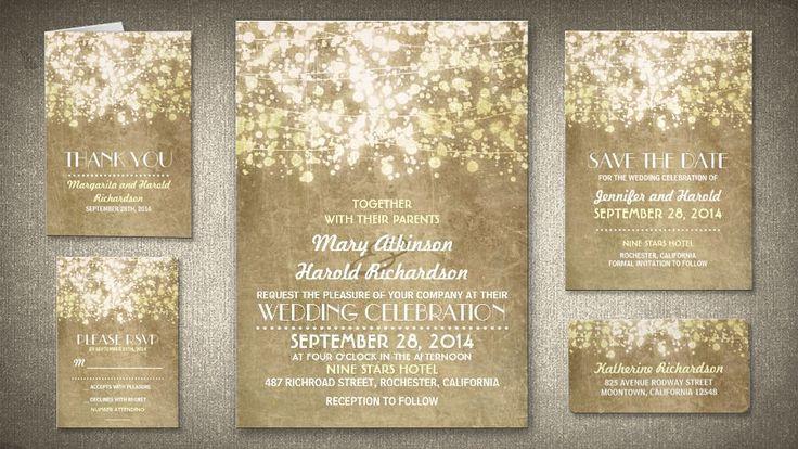 STRING LIGHTS GLITTER VINTAGE WEDDING INVITATION