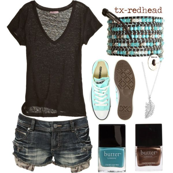 brown & turquoise by tx-redhead on Polyvore featuring Calypso St. Barth, Crafted, Converse, Chan Luu, Gorjana and Butter London