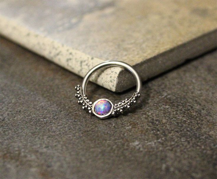 Purple Opal Fire Conch Hoop Earring,Septum Ring,Cartilage,Helix,Nipple Ring,Daith Captive Bead Earring,14G 16G Surgical Steel Sold as Single by Purityjewel on Etsy (null)