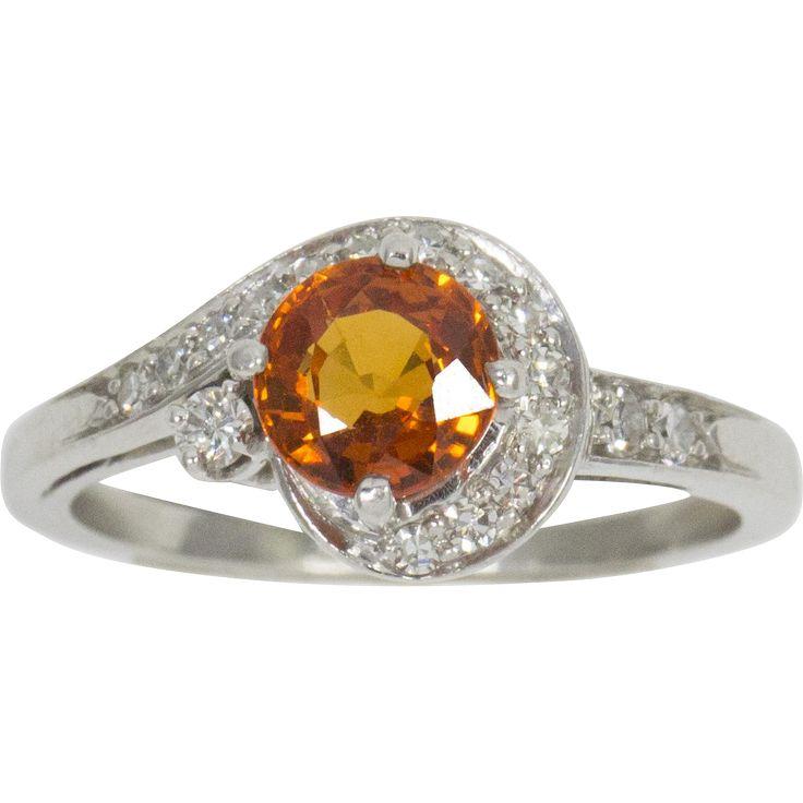 1.77ct Deep Natural Orange Sapphire and Diamond Platinum Ring