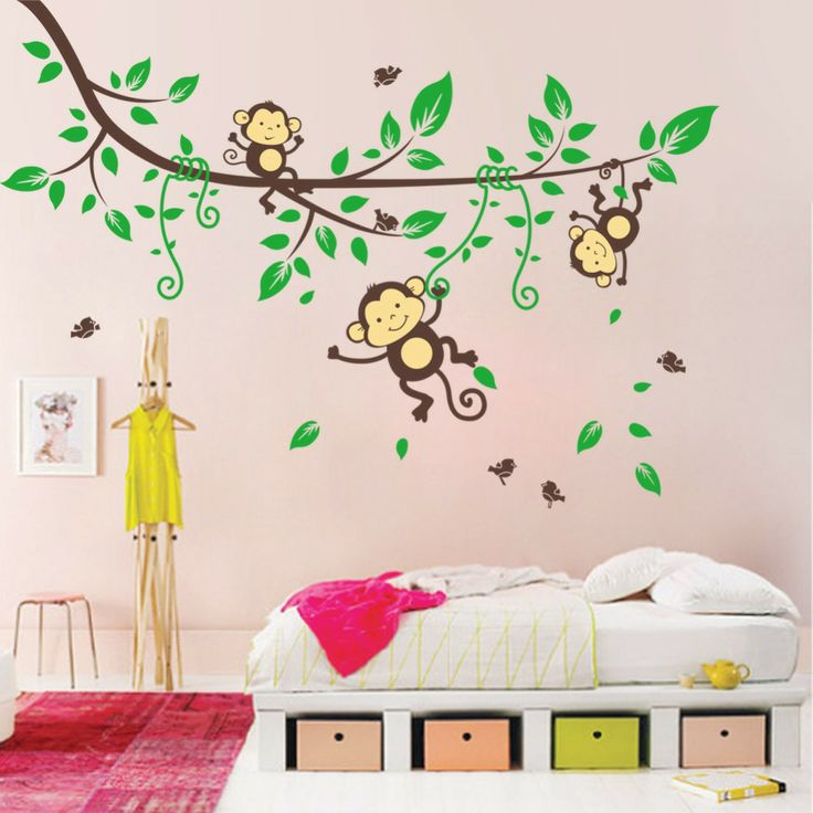Free Shipping ZooYoo Original 3 Cute Monkey Playing On The Branches Wall Decals Removable Stickers Decors Art Kids Nursery Room $11.99