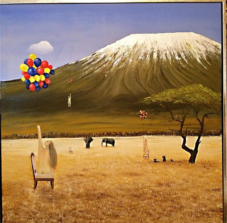 Balloon Safari - Oil on canvas. 100 cm times 100 cm