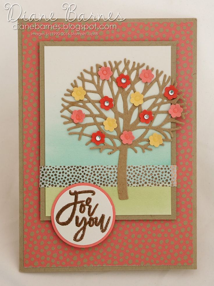 spring blossom tree card card using Stampin Up Thoughtful Branches bundle &…
