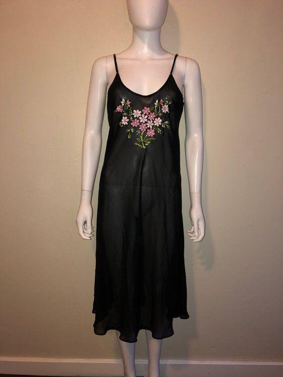 1db6173fce1 90's long black sheer floral Slip Nightie Lingerie Large ...