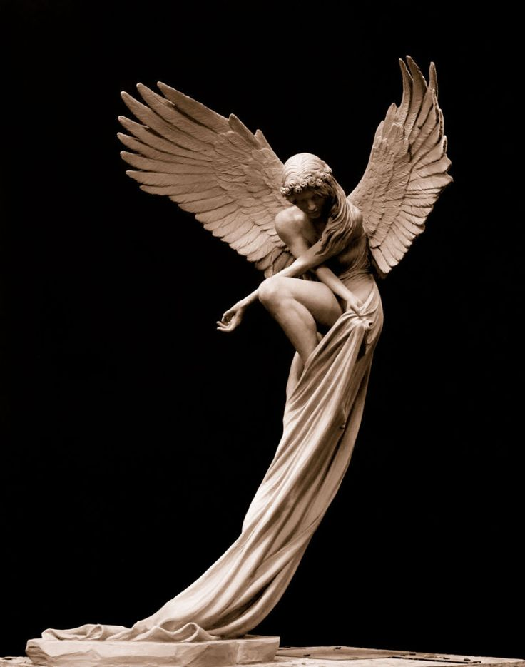 """""""The Angel"""" bronze sculpture by Benjamin Victor. Limited edition bronze; 1/3 Life Size. Measures 27"""" tall by 17"""" wide by 18"""" long. Contact bvictor@benjaminvictor.com to purchase. Serious inquiries only please."""