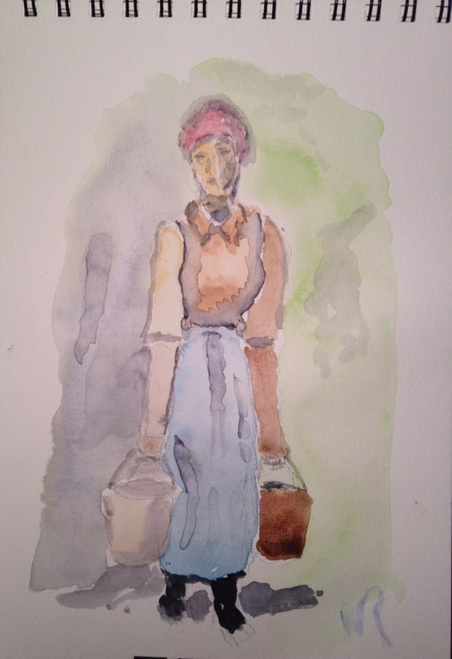 """This watercolor sketch, """"Water Carrier,"""" is adapted from a Jean-François Millet painting, on 7""""x10"""" field book cold press paper (c) 2016 Wes Rehberg"""