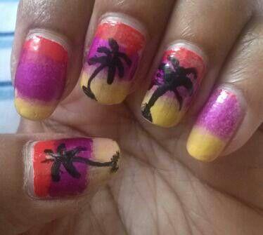 My 1 week old beach nails #nails #nailart #naildesigns #nailpolish