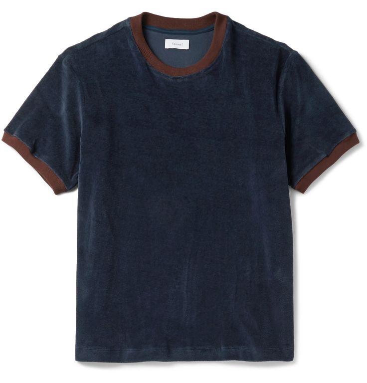 FANMAIL Contrast-Trimmed Organic Cotton-Velour T-Shirt