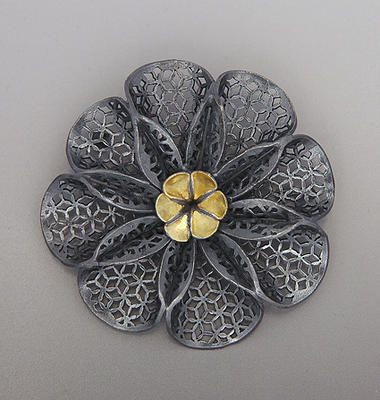 Black Laurel blossom pin by Youngjoo Yoo