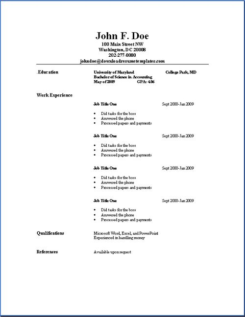 Simple Resume Template Resume Template On Microsoft Word Resume