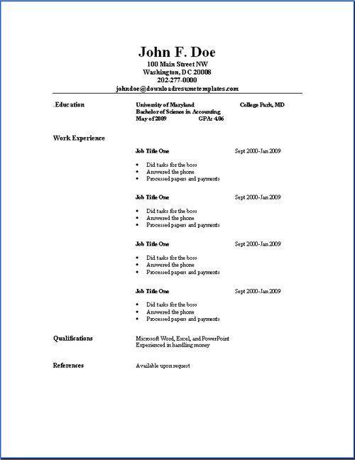 Basic Resume Templates | Download Resume Templates