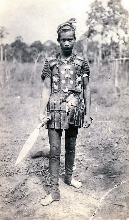 Moro warrior from the Philipines, early1900, shown wearing locally made mail and plate armor.