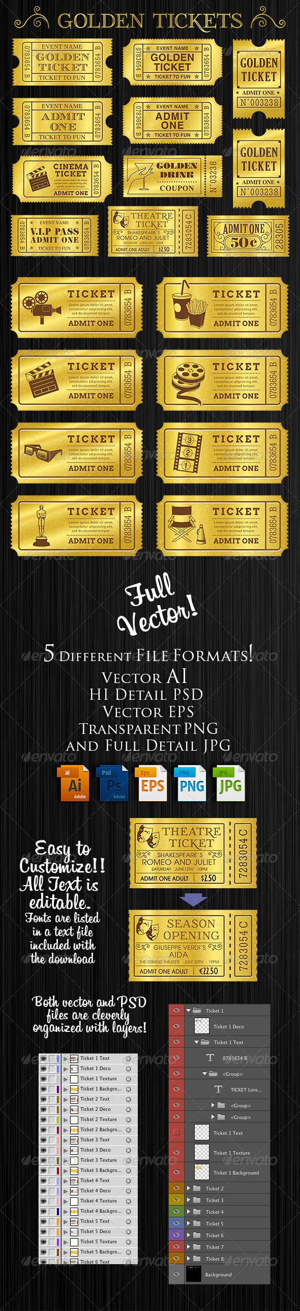 Golden Tickets Templates Set  #blank #label #movie • Click here to download ! http://graphicriver.net/item/golden-tickets-templates-set/8313572?ref=pxcr