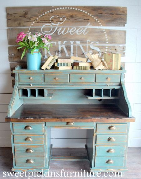Sweet Pickins Furniture - Sea Green Milk Paint....so I love this piece, but I also love the wall art with the natural wood and how it's not perfectly centered....but still partially covered by the statement piece of furniture. Love this.