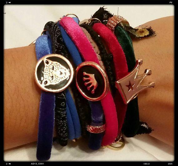 Velvet charm bracelets/set of two/ random by KaterinakiJewelry