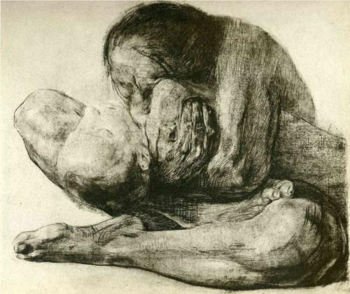 "Kathe Kollwitz                               ""Woman with Dead Child""                         GERMAN  EXPRESSIONISM"