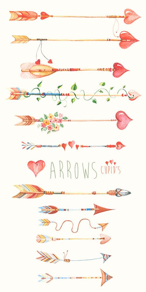 Arrows Сupid's Hand Drawn Watercolour Clipart. DIY by ReachDreams