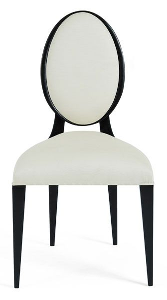 "Side Dining Chair. Company: Christopher Guy. Description:  The perfect oval back and straight legs of this Art Deco inspired chair create an inspired addition to a contemporary dining setting. Black Lacquer. Measurement: Width 22"" x Depth 23"" x Height 40"". Seat Width: 22"". Seat Depth: 18"". Seat Height: 20"""
