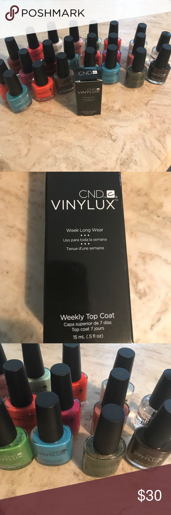 CND Vinylux 7 day nail polish bundle 21 colors 21 CND Vinylux color polishes plus one 7 day top coat and one regular top coat.  The way these polishes work is use use 1-2 coats of color polish.  Then you use the UV top coat.  You do not need a UV nail dryer.  You just expose your nails to normal UV light that you would experience as you go about your day.  The polish lasts for 7 days.  There are many positive reviews of this polish online.  It's a great alternative to traditional gel.  I…
