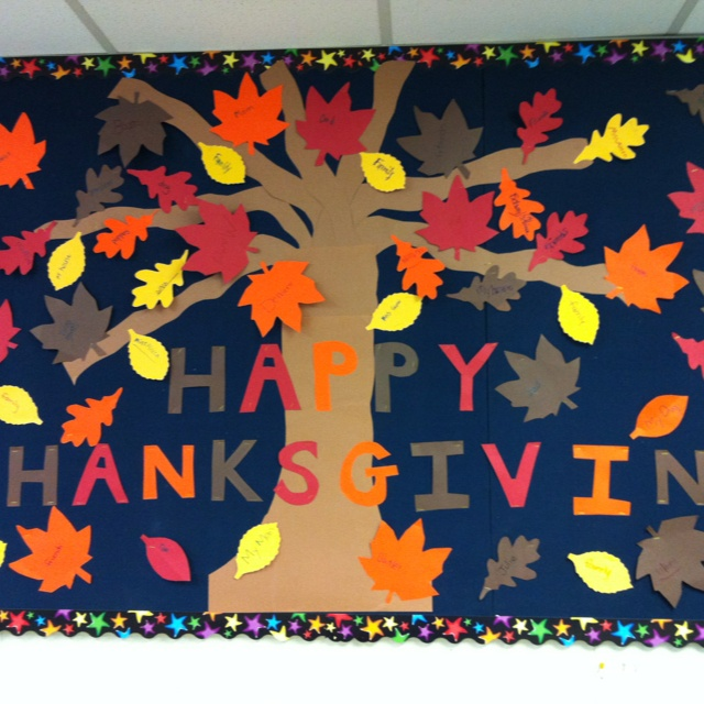 Thanksgiving bulletin board. Leaves cut out with something each student is thankful for written on them