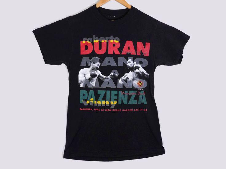 Vintage 1994 Duran Vs. Pazienza Boxing T-Shirt - Medium - Faded Black - Boxing Match Promo Tee - MGM Grand Vintage Tee - Vintage Clothing - by BLACKMAGIKA on Etsy