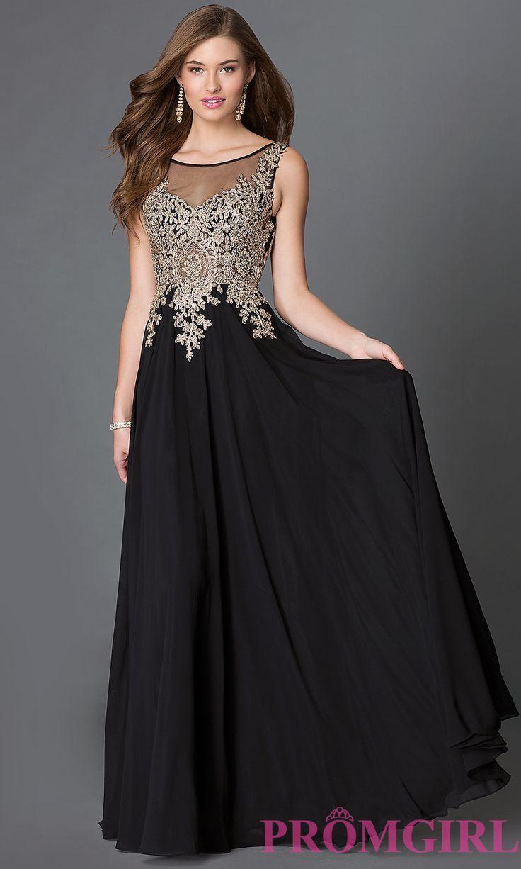 Jewel embellished sheer back chiffon prom dress at promgirl